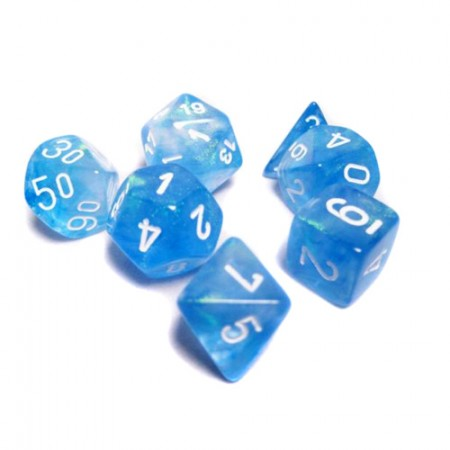 Borealis Sky Blue w/White Polyhedral Set of 7 Dice - CHX27426