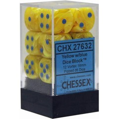 12 16mm Yellow w/Blue Vortex D6 Dice - CHX27632