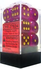 12 16mm Magenta w/Gold Borealis D6 Dice - CHX27624
