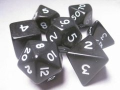 Jumbo Dice Set 7 Polyhedral Black/White Opaque 28mm