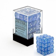 36 Sky Blue / White Borealis 12mm D6 Dice Block - CHX27826