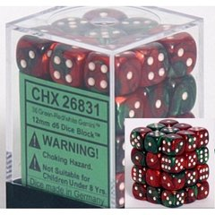 36 Green-Red /white Gemini 12mm D6 Dice Block - CHX26831