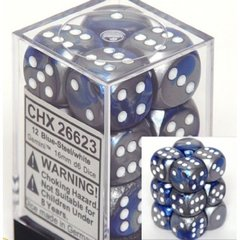 CHX 26623 - 12 Blue-Steel w/ White Gemini 16mm d6 Dice