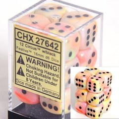 12 Circus w/black Festive 16mm D6 Dice Block - CHX27642