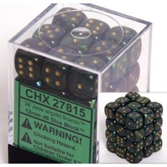 27815 36 Jade w/gold Scarab 12mm D6 Dice Block