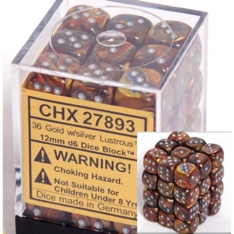 36 Gold w/silver Lustrous 12mm D6 Dice Block - CHX27893