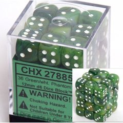 36 Green w/white Phantom 12mm D6 Dice Block - CHX27885