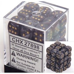 27898 36 Black w/gold Lustrous 12mm D6 Dice Block