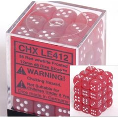 36 Red w/white Frosted 12mm D6 Dice Block - CHXLE412