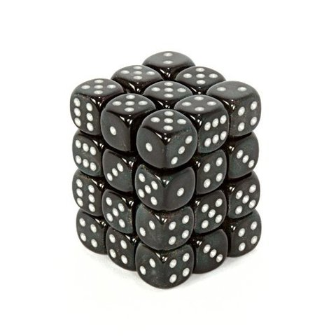 36 Smoke w/silver Borealis 12mm D6 Dice Block - CHX27828