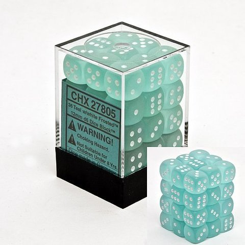 36 Teal w/white Frosted 12mm D6 Dice Block - CHX27805