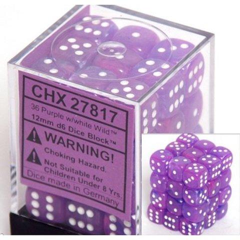 36 Purple w/white Wild 12mm D6 Dice Block - CHX27817 - Accessories