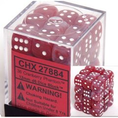36 Cranberry Phantom 12mm D6 Dice Block - CHX27884