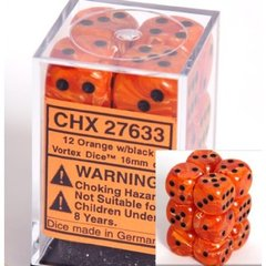 12 Orange w/black Vortex 16mm D6 Dice Block - CHX27633
