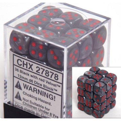 36 Black w/red Velvet 12mm D6 Dice Block - CHX27878
