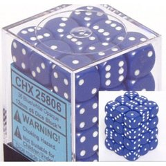 36 Blue w/white Opaque 12mm D6 Dice Block - CHX25806