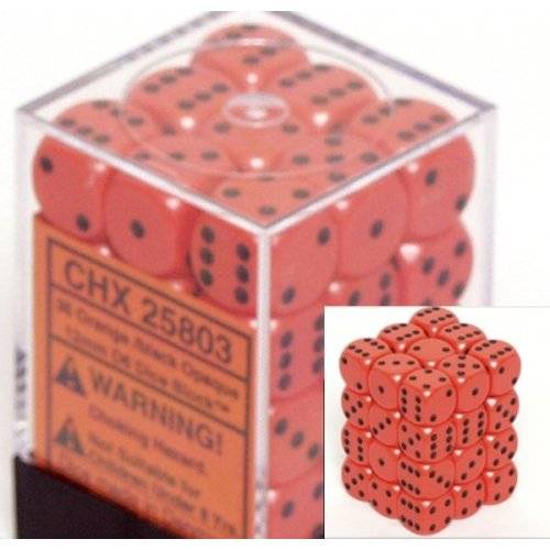 36 Orange w/black Opaque 12mm D6 Dice Block - CHX25803
