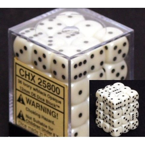 36 Ivory w/black Opaque 12mm D6 Dice Block - CHX25800