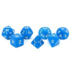Jumbo Dice Set 7 Polyhedral Blue 28mm