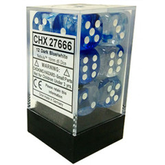 12 Dark Blue/White Nebula D6 Dice Set - CHX27666