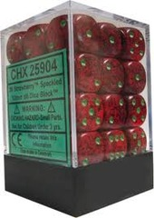 12 Strawberry Speckled 16mm D6 Dice Set - CHX25904