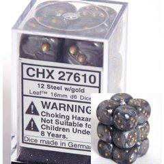 12 Steel w/gold Leaf 16mm D6 Dice Block - CHX27610