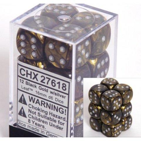 12 Black Gold w/silver Leaf 16mm D6 Dice Block - CHX27618