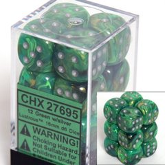 12 Green w/silver Lustrous 16mm D6 Dice Block - CHX27695