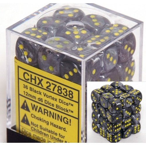36 Black w/yellow Vortex 12mm D6 Dice Block - CHX27838