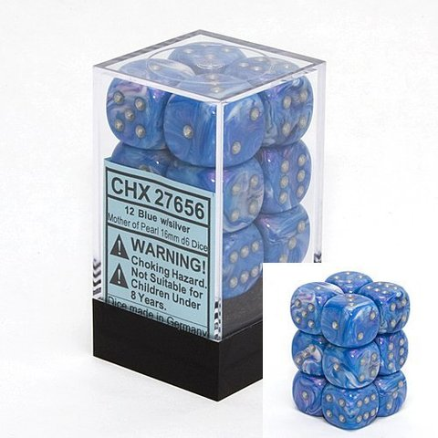 12 Blue w/silver Mother of Pearl 16mm D6 Dice Block - CHX27656