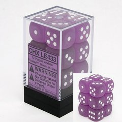 12 Purple w/white Frosted 16mm D6 Dice Block - CHXLE433