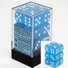 12 Frosted Caribbean Blue w/white 16mm D6 Dice Block - CHX27616