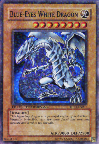 Blue-Eyes White Dragon - DT01-EN001 - Super Parallel Rare - Duel Terminal