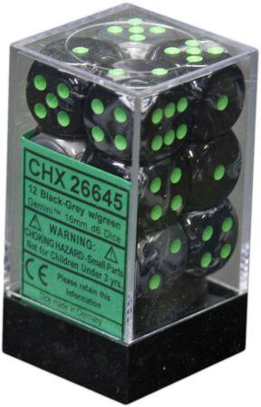 12 Black-Grey w/green Gemini 16mm D6 Dice Block - CHX26645