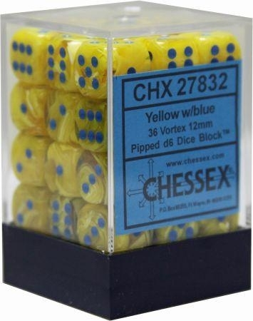 36 12mm Yellow w/Blue Vortex D6 Dice - CHX27832