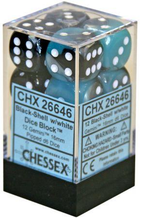 12 16mm Black-Shell w/White Gemini D6 Dice - CHX26646