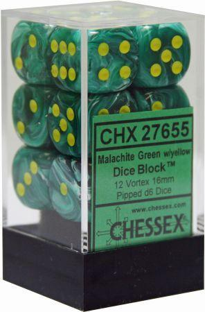 12 16mm Malachite Green w/Yellow Vortex D6 Dice - CHX27655