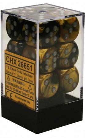 12 16mm Black-Gold w/Silver Gemini D6 Dice - CHX26651