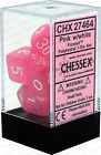 7 Pink w/White Frosted Polyhedral Dice Set - CHX27464