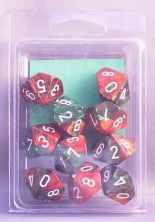 10 Green-Red w/White Gemini D10 Dice Set - CHX26231