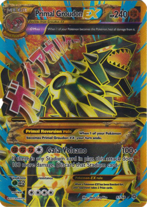 photograph about Printable Pokemon Cards Mega Ex identify Primal Groudon-EX - 97/98 - Finish Artwork Extremely Uncommon - Pokemon