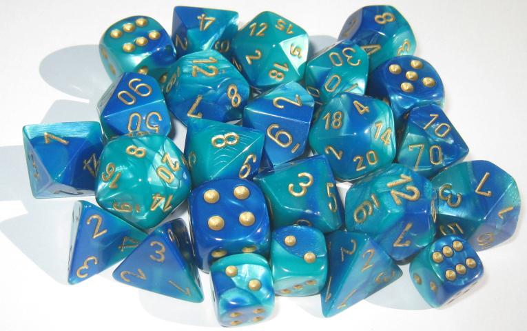 Gemini Blue-Teal/Gold Polyhedral 7 Dice Set CHX26459