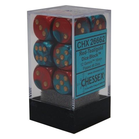 12 Red-Teal/gold Gemini 16mm d6 Dice Block - CHX26662