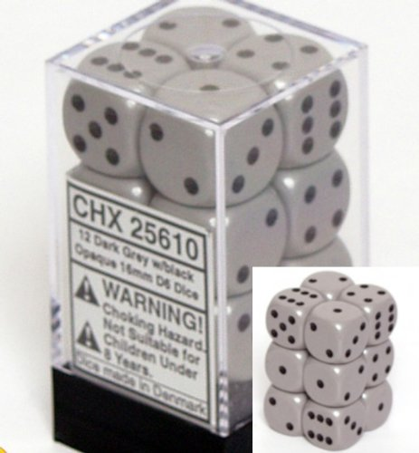 12 Dark Grey w/black Opaque 16mm D6 Dice Block - CHX25610