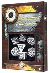 Q-Workshop White-Black Steampunk Clockwork Dice Set (7)