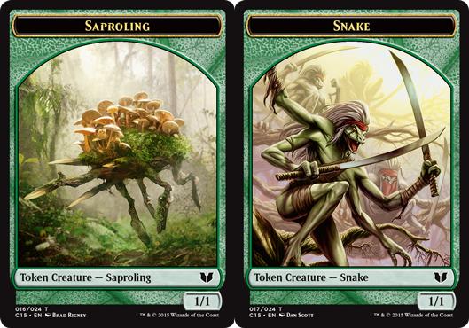 Snake Token (Green) // Saproling Token