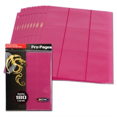 BCW Side Loading 18 Pocket Pro Pages - Pink