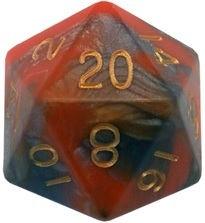 Acrylic Dice 35mm Mega D20 Combo Attack Orange & Brown with Gold Numbers