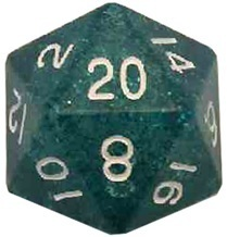 Acrylic Dice 35mm Mega D20 Ethereal Light Blue with White Numbers