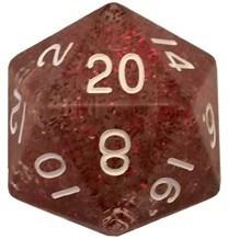 Acrylic Dice 35mm Mega D20 Ethereal Light Purple with White Numbers